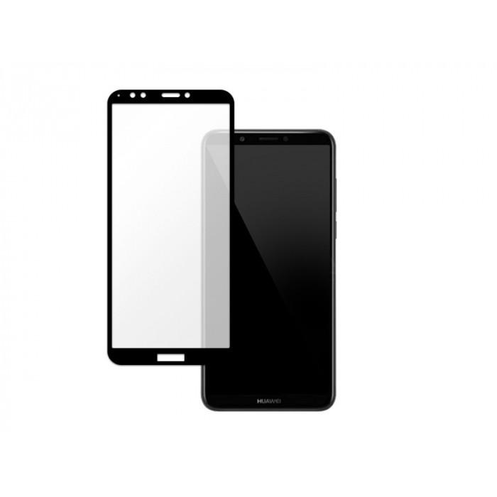 Folie protectie din sticla 3D securizata pentru Huawei Y7 2018, Full Screen, Full Glue, Negru