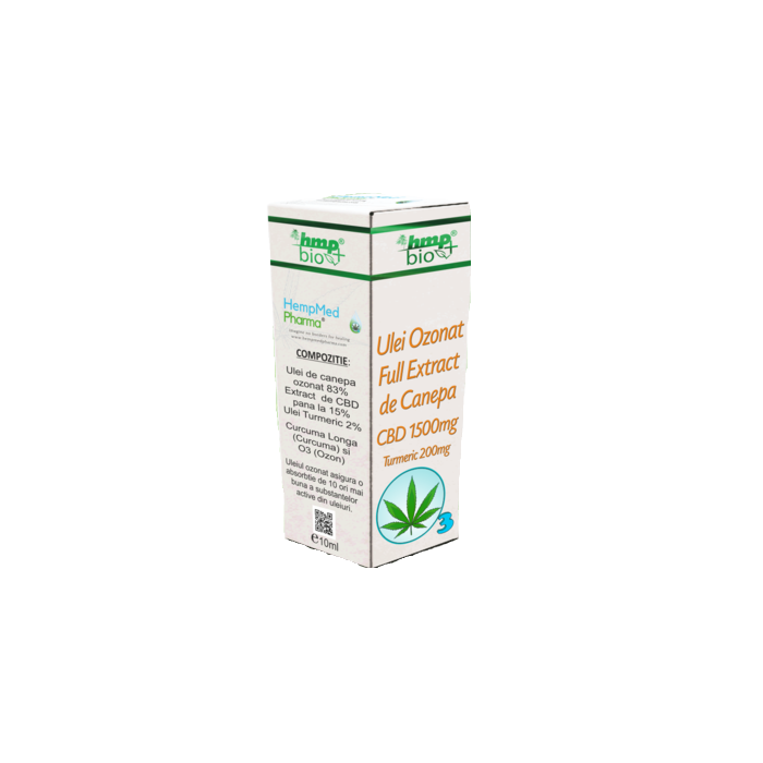 ULEI OZONAT FULL EXTRACT DE CANEPA cu CBD 1500 mg si TURMERIC