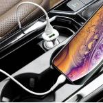 Incarcator auto Hoco Z31 QC 3.0, 2 USB + cablu Lightning alb