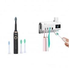 Set Periuta de dinti electrica, 26.000 vibratii, 4 capete incluse si Suport periute / pasta, lumina UV