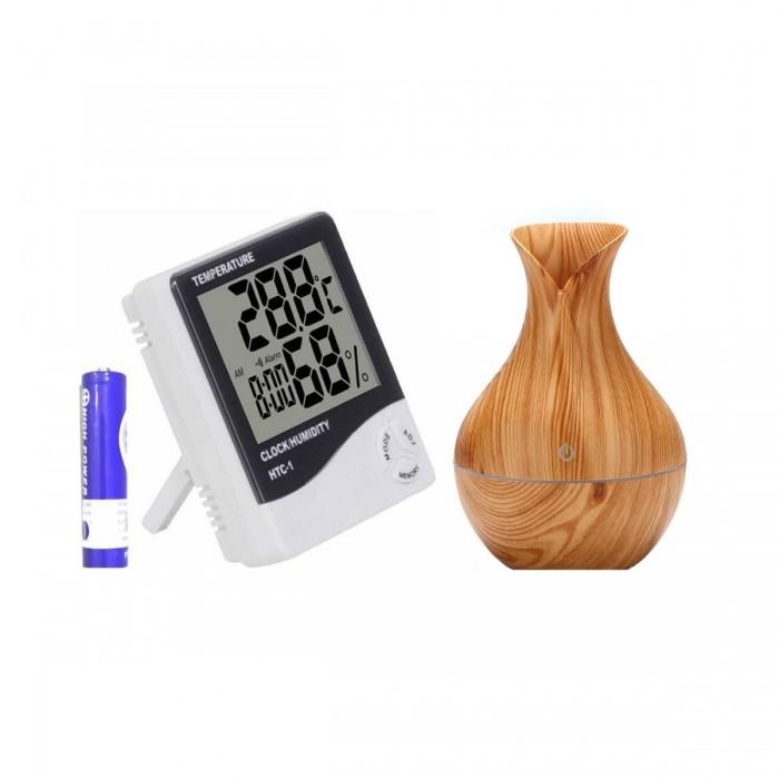 Lampa LED de veghe, Umidificator ultrasonic, 130 ml + Ceas digital, functie de alarma, termo si higro