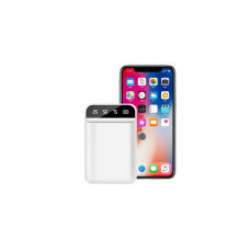 Powerbank 10000 mAh, 2 x USB, finisaj premium, alb