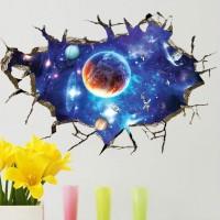 Decoratiune perete autocolanta 3D Space Planet, Multicolor