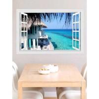 Decoratiune perete 3D autocolanta peisaj plaja