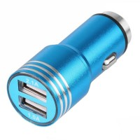 Incarcator auto iHunt, 2.1A, 2 x USB, 100% metalic, Blue