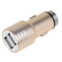 Incarcator auto iHunt, 3.1A, 2 x USB, 100% metalic, Gold