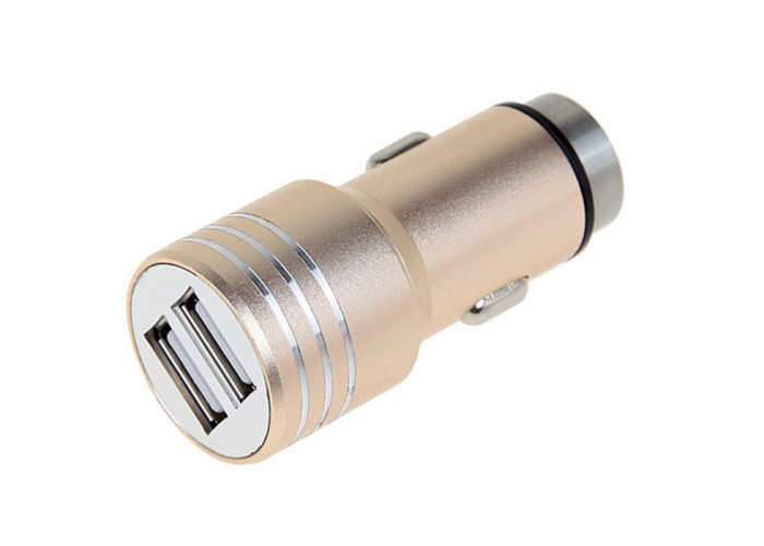 Incarcator auto iHunt, 2.1A, 2 x USB, 100% metalic, Gold