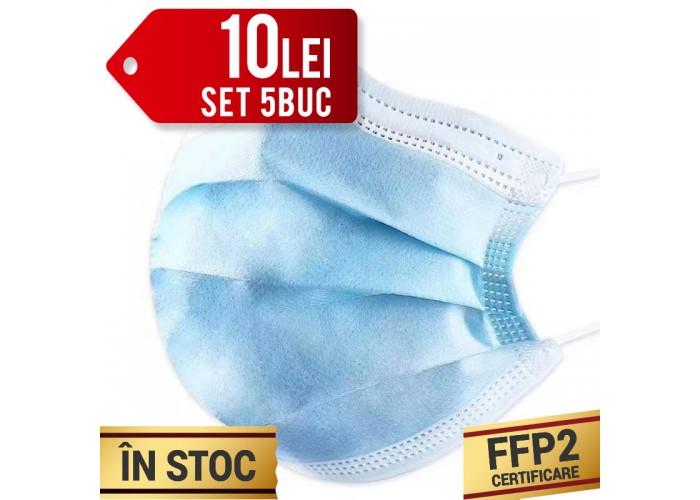 Set Masti de protectie cu elastic, 3 straturi, Calitate superioara, FFP2, 5buc