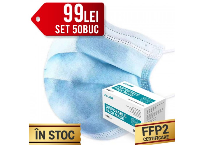 Set Masti de protectie cu elastic, 3 straturi, Calitate superioara, FFP2, 50buc/cutie