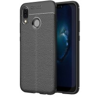 Husa de protectie Leather Huawei P20 Lite, Negru