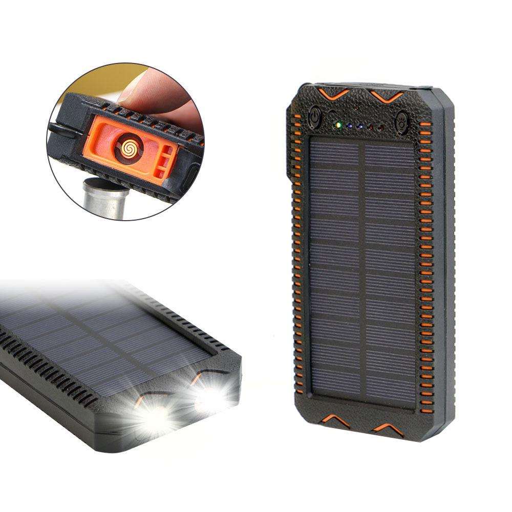 Acumulator Extern Solar 8000mah, Lanterna Dubla, Bricheta, Orange