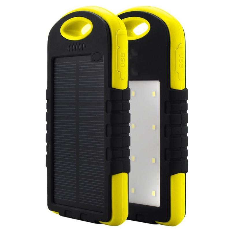 Acumulator Extern Solar Ipx6 8000mah, 2 Usb, Lanterna, Yellow