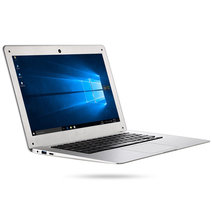 Laptop DERE D17 cu procesor Intel Cherry Trail x5-Z8350 pana la 1.92GHz, 14 inch, 4GB RAM, 64GB eMMC, Intel HD Graphics, Microsoft Windows 10, Silver