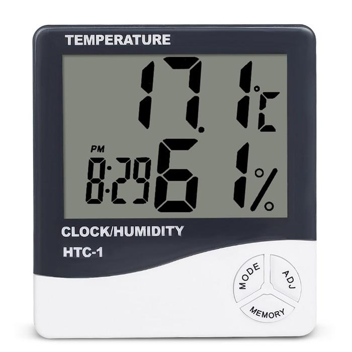 Ceas Cu Alarma Si Functie De Citire A Umiditatii Si Temperaturii, Alb