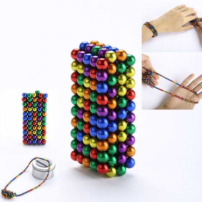 Set bile magnetice multicolore Anti-stres, 216 bucati, Multicolor