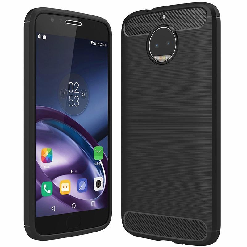 Husa Carbon Pentru Moto E4 Plus, Negru